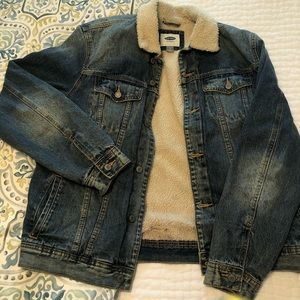 Old Navy sherpa lined jean jacket size L